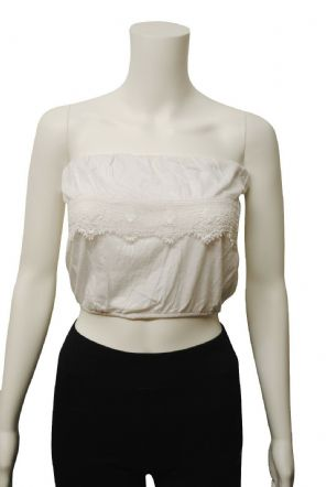 Wholesale Womens Tops & T-Shirts - Wholesale Womens Ex Chainstore Boob Tube Crop Top Frilly Lace White - Womens Wholesale Clothing - iFashionWholesale.com - Specialist in Ex Chainstore Wholesale Clothing.